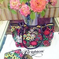 Brighton Rare Midnight Garden Tote & Matching Large Pouch With Leather Trim Nwot Photo