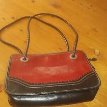Brighton Red and Black Leather Purse Braided Double Strap Photo