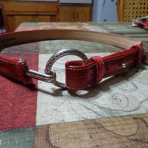 Brighton Red Belt  B30037 Silver Tone Buckle Loops Size S 28 Photo