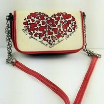 Brighton Red Black Ivory Love Coated Canvas Mini Shoulder Crossbody Bag Purse  Photo
