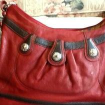 Brighton Red & Black Leather W/silver Trim Shoulder Bag Photo