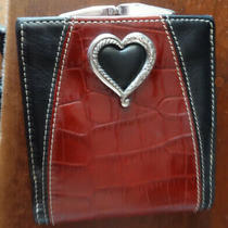 Brighton Red & Black Leather Wallet Coin Purse With Silver Heart Photo