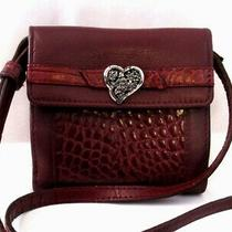 Brighton Red Embossed Leather Convertible Crossbody Bag Bi-Fold Wallet Clutch Photo