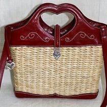 Brighton Red Heart Leather & Straw Shoulder Crossbody Top Handle Handbag Silver Photo