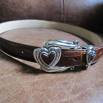 Brighton Red Heart Ml Brown Leather Belt Photo