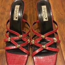 Brighton Red Italian Slides Leather Women's Robbie Heels Strappy 10.5 Photo