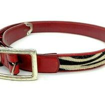Brighton Red Leather Belt Zebra Pony Hair Sz M 30 Silver Western Hardware Photo