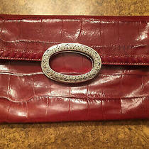 Brighton Red  Leather Clutch Fold Over Handbag Purse  Photo