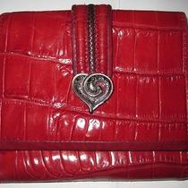Brighton Red Leather Crocodile Embossed Leather Wallet Photo