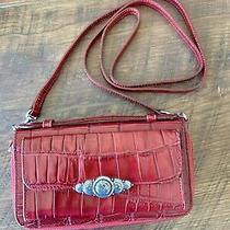 Brighton Red Leather Embossed Croc Crossbody Wallet Organizer Nice Unused Photo