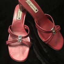Brighton Red Leather Slip on Heels W Silver Heart Size 8m  Photo