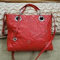 Brighton Red Logan Tote Bag Leather Quilted Handbag Roses Embossed Silver Detail Photo