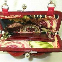 Brighton-Red Patent Leather Flower Petal Kisslock Handbag Purse W/ Chain Handle Photo