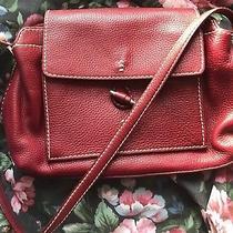 Brighton Red Pebbled Med Flap Vintage Leather Organizer Hobo Purse Shoulder Bag  Photo