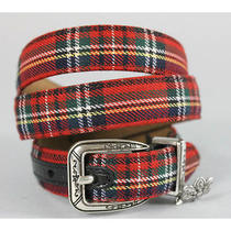 Brighton Red Plaid Belt Sz M Photo