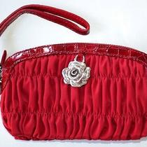 Brighton Red Ruched Microfiber Wristlet Pouch - Leather Trim Nwt Photo