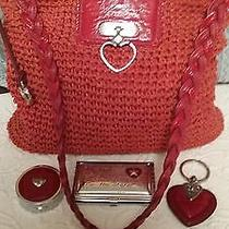 Brighton Red Set Purse Pill Box Business Card Holder Heart Keychain Photo