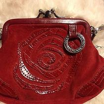 Brighton Red Suede Clutch Purse Red Mini Photo