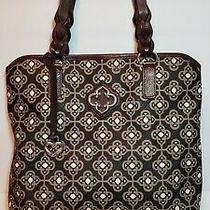 Brighton Renata Toledo Collection Blk Brown Ziptop Tote  Shoulder Handbag Purse Photo