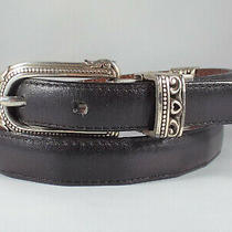 Brighton Reversible Belt Croco Black/brown Leather Women's Size Ml 32 B40065 Photo