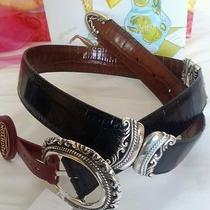 Brighton Reversible Womens Belt Brown Black Leather Buckle Sz Small 68. Nwt Photo