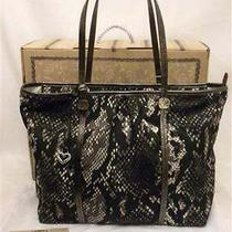 Brighton Ricki Petra Lg Tote Black Python Print Nylon Silver Leather H5143k Nwt Photo