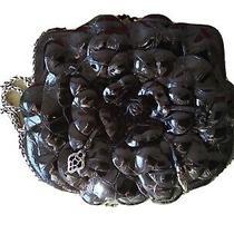 Brighton Rosalie Flower Black Patent Leather Small Purse Shoulder Crossbody Bag Photo