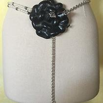 Brighton Rosalie Rose Flower Silver Pearl Chain Belt Nwt Black Necklace Photo