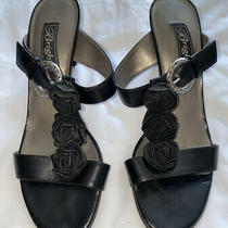 Brighton Rosy Black Leather Slip on Sandals Shoes Size 6.5 M Slip on Made Italy Photo