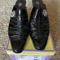 Brighton Rubens Black Crinkle Patent Leather Mules Photo