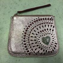 Brighton Shimmer Pink Leather Wristlet/pouch With Cut Outs and Silver Heart Photo