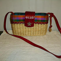 Brighton Shoulder Bag Red Croc Leather Natural Straw Tote Purse Clean Nice (Euc) Photo