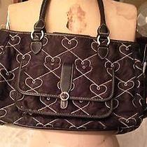 Brighton Shoulder Purse Handbag Damask Microfiber Hearts Photo