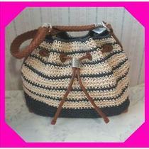 Brighton Sierra Straw Blue Hobo W Leather Handle Purse Bag Nwtag 270 Photo