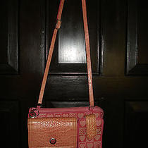 Brighton Signature Heart Canvas With Pink Croco Leather Wallet Cell Crossbody Photo
