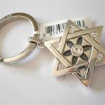 Brighton Silver Crystal Star of David 3-D Key Fob Ring Charm Pendant Nwt Photo
