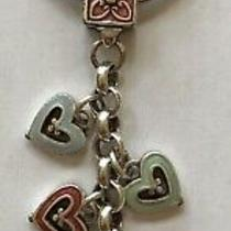 Brighton Silver Enameled Pastel Dangling 7 Hearts Key Chain Fob Ring  Retired Photo