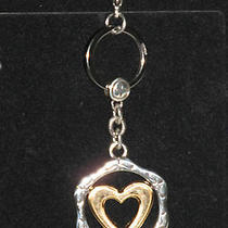 Brighton Silver & Gold-Tone Metal Key Fob / Ring - Hexagon Shape W/ Heart  -Nwot Photo