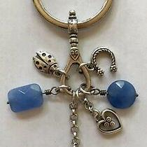 Brighton Silver Key Chain Fob Ring Charms Blue Ladybug Locket Horseshoe Heart Photo