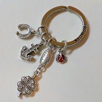 Brighton Silver Key Fob Chain Lucky Clover Heart Lady Bug Horseshoe Charm Photo