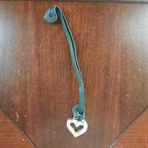 Brighton Silver Metal Heart Charm Teal Green Leather Strap Fob Handbag Purse Photo