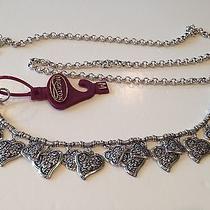 Brighton Silver Plated Chain Belt W Black Enamel & Crystals  Sz M Photo