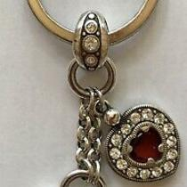 Brighton Silver Red Crystal Heart Scrollwork Key Chain Fob Ring Hearts  Retired Photo
