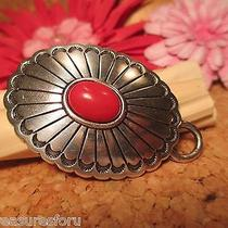 Brighton Silver Red Women's Belt Buckle Cabochon Design for Chain Link Belt Photo