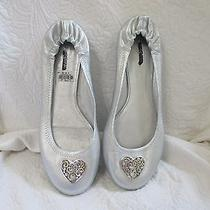 Brighton Silver Scroll Heart Leather Ballerina Flats Slippers Size 11 Med Nwt  Photo