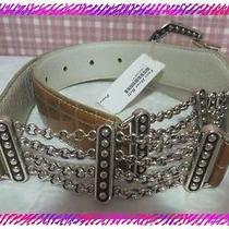 Brighton Silver White & Gold Leather Reversible Taos Belt Size 32 (30-34) Nwtag Photo