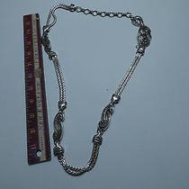Brighton Silvertone Link Belt Metal Chain Braided Heart Belt Size 33