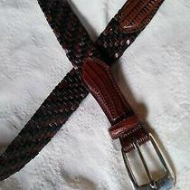Brighton Size 38 Belt - Black and Brown Woven Leather - Embossed Alligator Print Photo