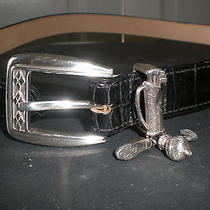 Brighton Size Medium Black Leather Croc With Silver Plated Golf Bag Buckle  Photo