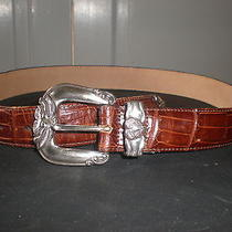 Brighton Size Medium Brown Leather Croc With Silver Plated Buckle Photo
